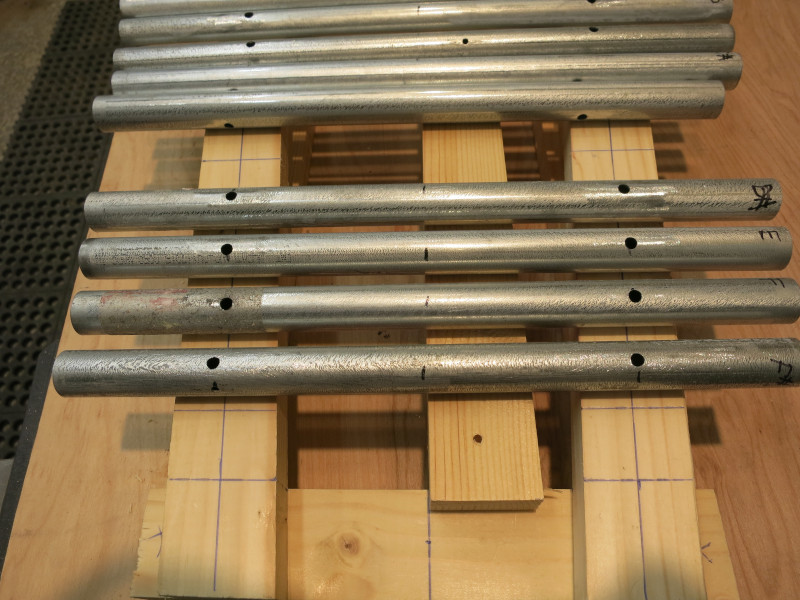 Aligning each pipe with the center and edges