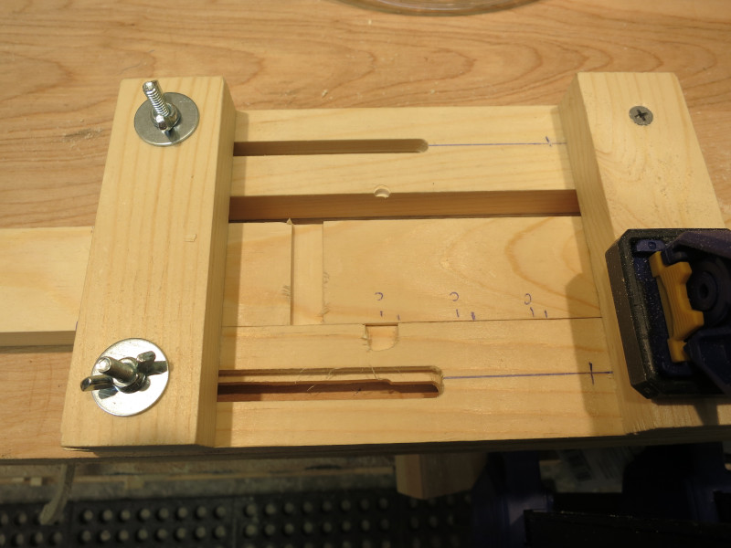 Using the jig to route the vertical slots