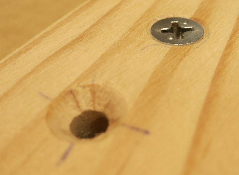 The countersink, cut with a 1/2″ countersink bit