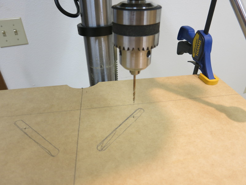 Drilling pilot holes for the bolt holes
