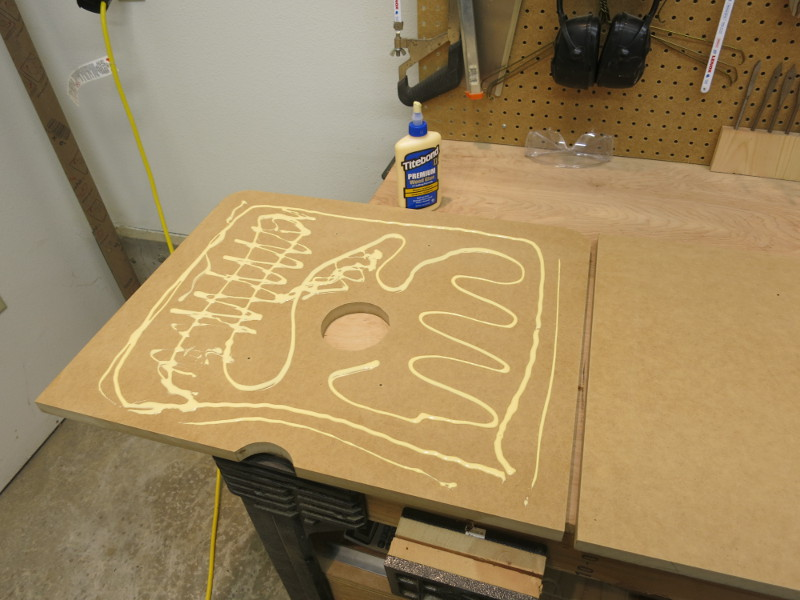 Gluing the two table pieces together
