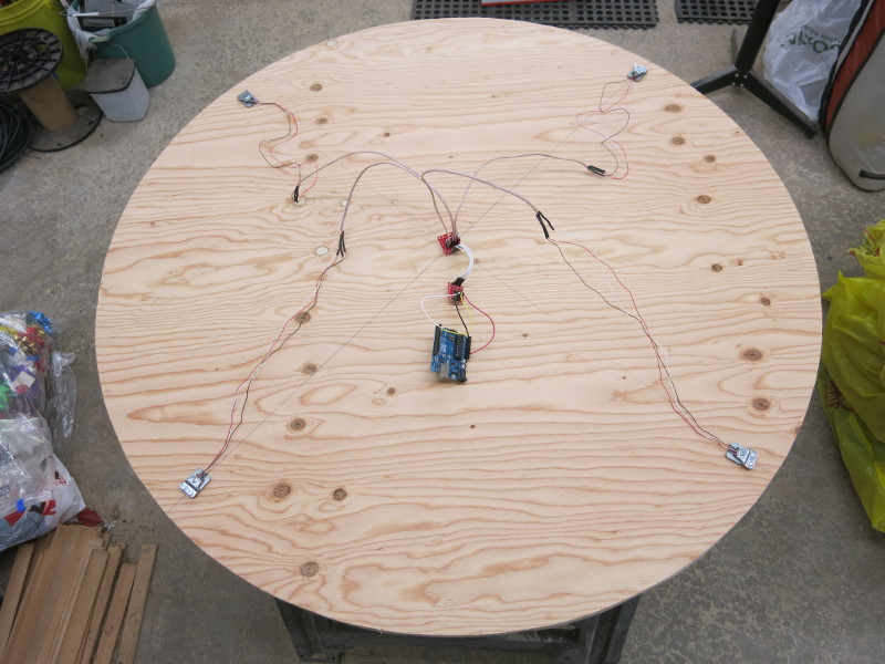 Testing that the circuit fits the plywood base correctly