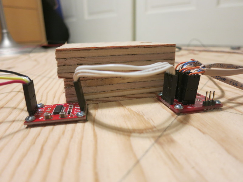 The load sensor support block keeps the top plywood circle from crushing the electronics
