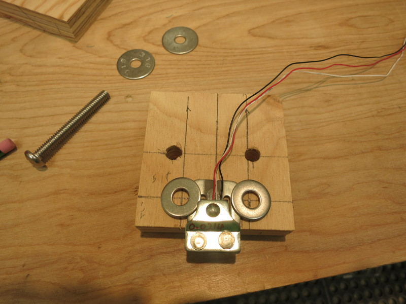 test layout of two washers to hold down the Load Sensor