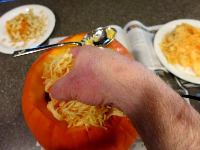Pulling out the last of the pumpkin guts