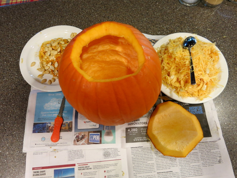 Your clean pumpkin, ready to carve