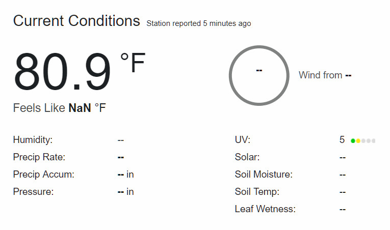 The outside temperature at my house. The station works!