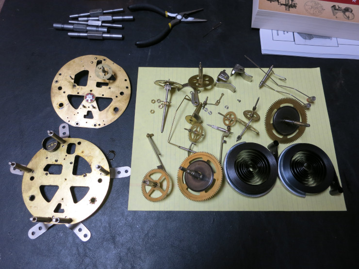 The disassembled Montgomery Ward clock