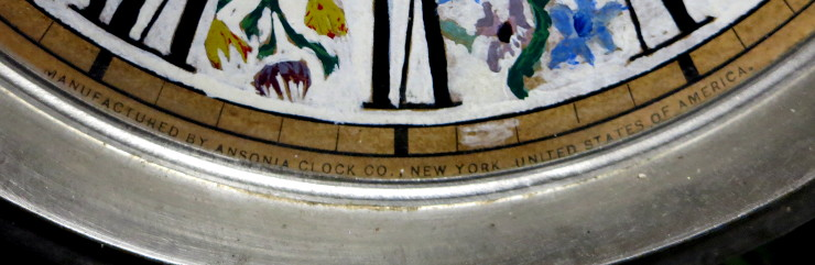 """The face reads """"Manufactured by Ansonia Clock Co., New York, United States of America"""""""