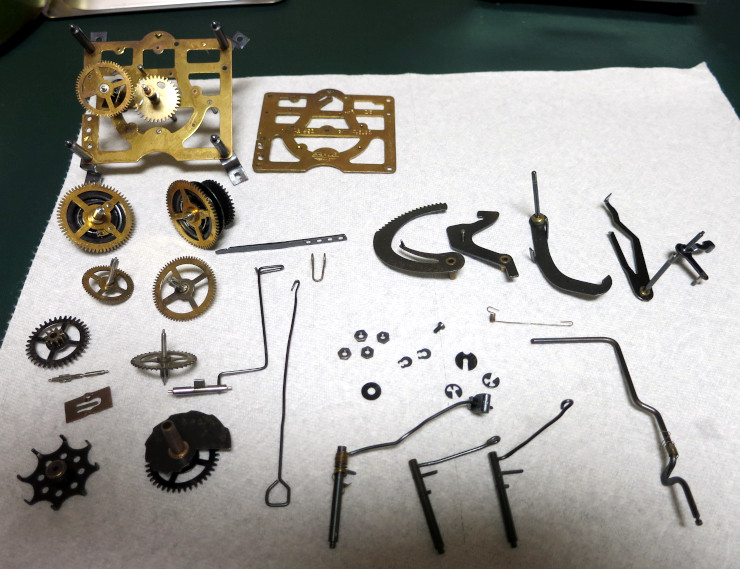 The disassembled and cleaned Regula 25 cuckoo movement