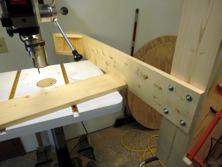 screwing and gluing the cross brace, using a makeshift workbench