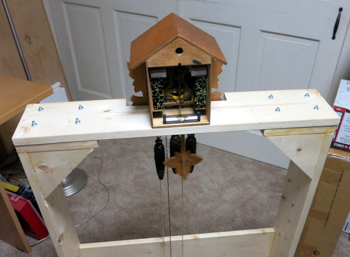 cuckoo clock test stand in operation