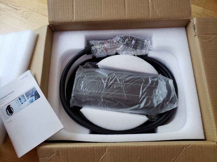 Our Webasto TurboDX 32A J1772 car charger, ready to be installed