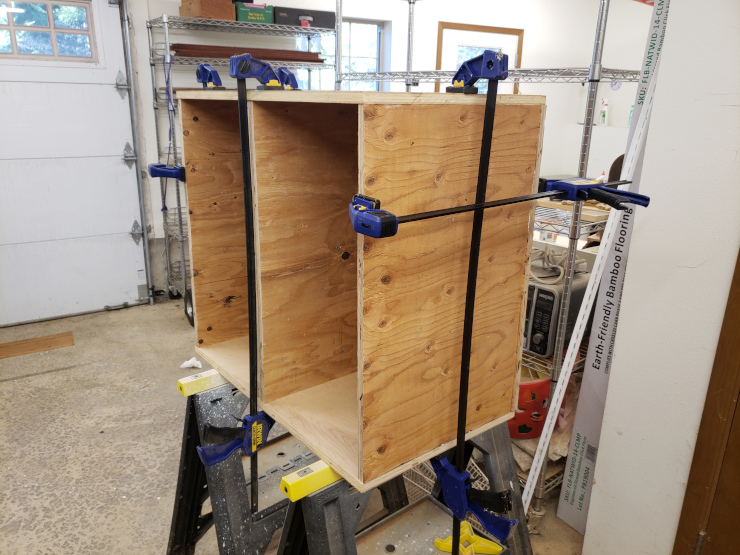 Gluing the cabinet carcass together