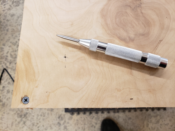 Starting a hole with a center punch