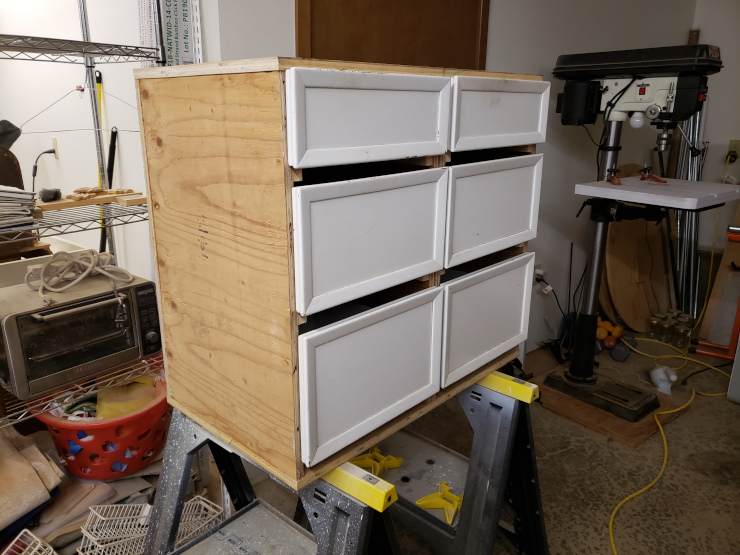 Drawers test-fit on the glued rails