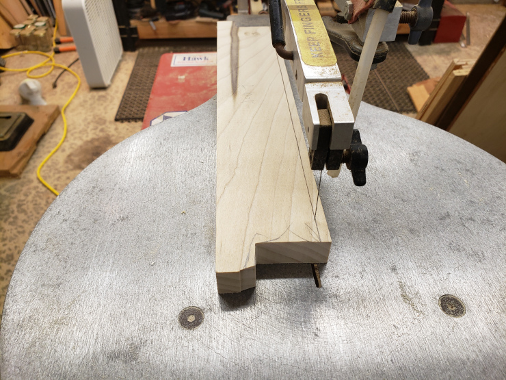 Scrollsawing the corners out of the horizontal bars