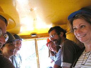 Getting cozy with a few strangers, inside the mining car