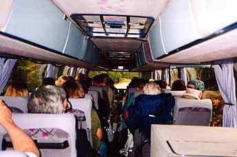 Packed onto a tour bus