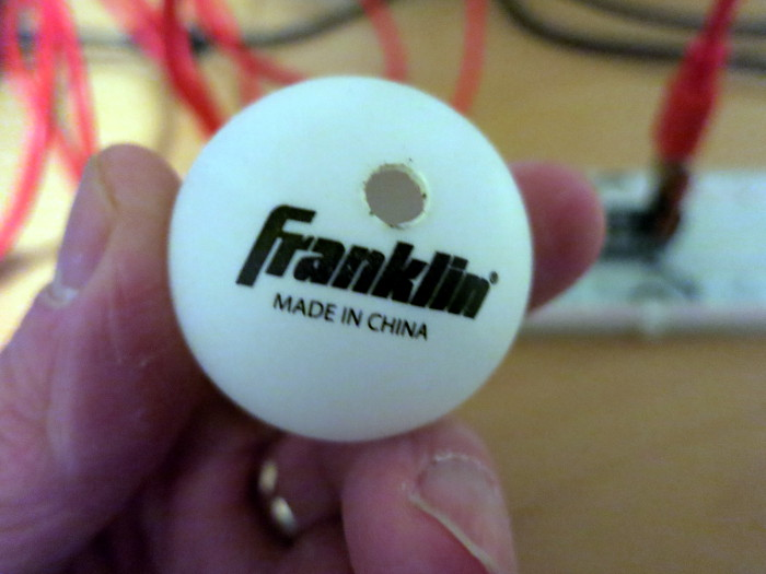 Ping Pong ball with hole for LED