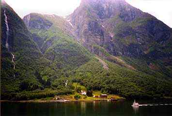 The ferry in a fjord
