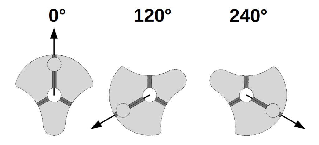 Positions for a 0°, 120°, 240° Flower