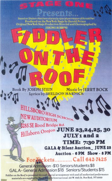 Poster: Stage One presents Fiddler on the Roof