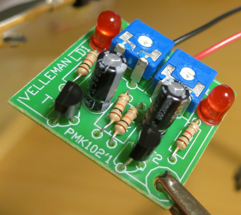 The component side of my finished Velleman MK102 Flashing LEDs kit
