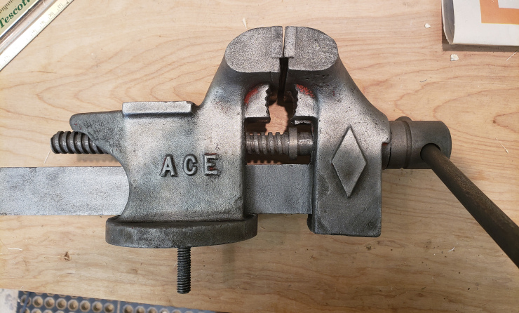 The vise, with the rust and paint removed